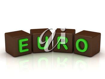 Royalty Free Clipart Image of the Word Euro on Blocks