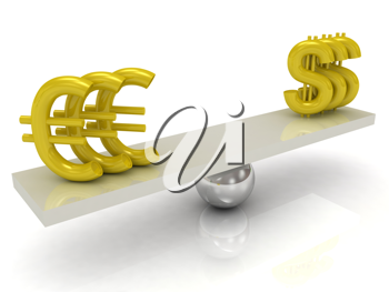 Royalty Free Clipart Image of Euro and Dollar Signs