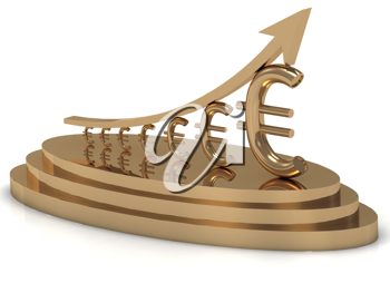 Royalty Free Clipart Image of a Gold Statuette Showing Euro Growth