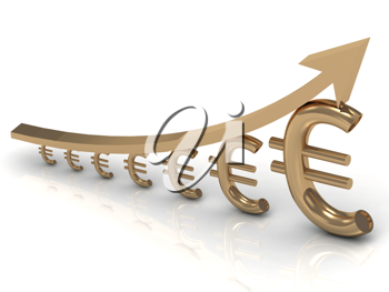 Royalty Free Clipart Image of a Graph of Euros and an Arrow