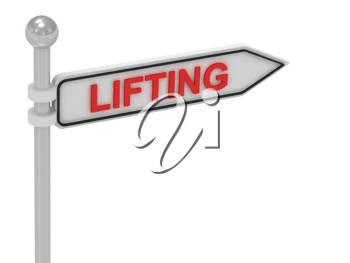 Royalty Free Clipart Image of an Arrow Sign With the Word Lifting