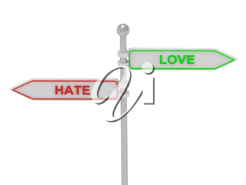Royalty Free Clipart Image of an Arrow Sign With the Words Hate and Love