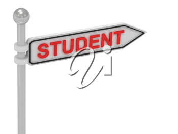 Royalty Free Clipart Image of an Arrow Sign With the Word Student