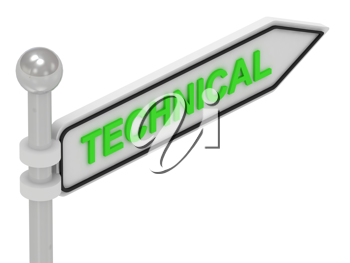 Royalty Free Clipart Image of an Arrow Sign With the Word Technical