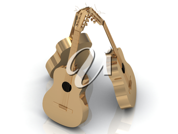 Three acoustic guitars made of gold with golden strings