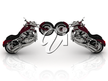 Two road motorcycle stand on the rear wheels on a white background