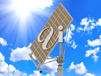 Directional solar panels against a bright sunny sky with clouds