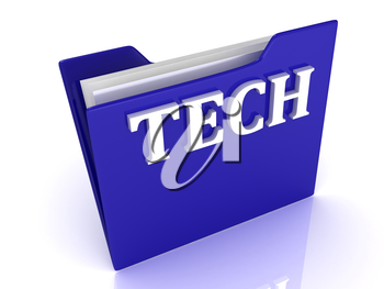 TECH bright white letters on a blue folder on a white background