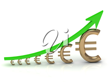 Illustration of the growth of the euro with a green arrow on white background