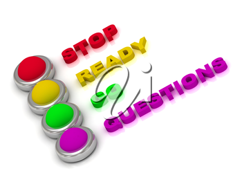 Traffic lights with red, yellow, green and lilac lights traffic with inscriptions stop, ready, go and questions