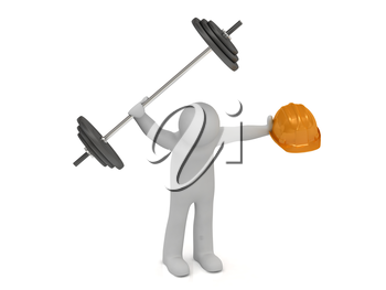 3d man one hand greater barbell and in other hand he keeps orange building helmet