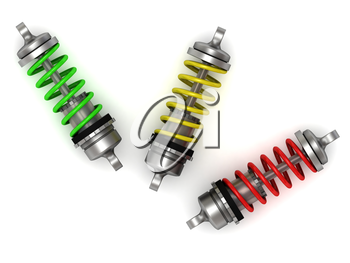Automotive shock absorber with colour springs on white background