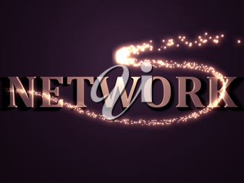 NETWORK- 3d inscription with luminous line with spark on contrasting background