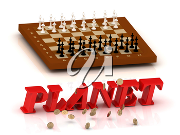 PLANET- inscription of color letters and chess on white background