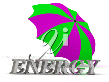 ENERGY- inscription of silver letters and umbrella on white background