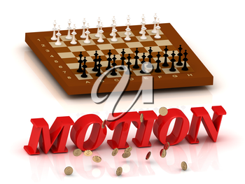 MOTION - inscription of red letters and chess on white background
