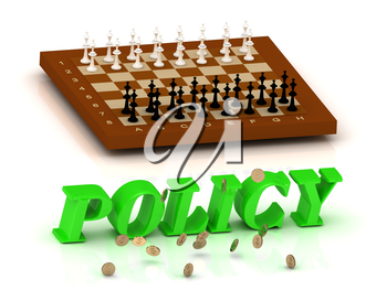 POLICY - inscription of green letters and chess on white background