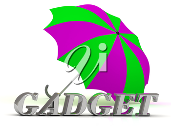 GADGET- inscription of silver letters and umbrella on white background