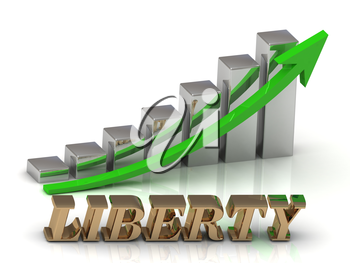 LIBERTY- inscription of gold letters and Graphic growth and gold arrows on white background