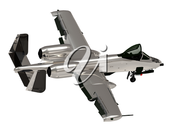 Military silver jet airplane during airshow on white background