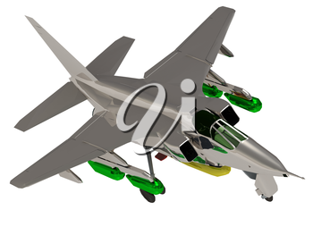 Army jet airplane with bomb during airshow  on white background