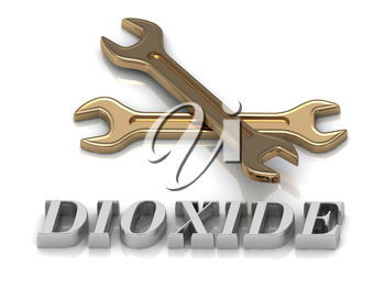 DIOXIDE- inscription of metal letters and 2 keys on white background