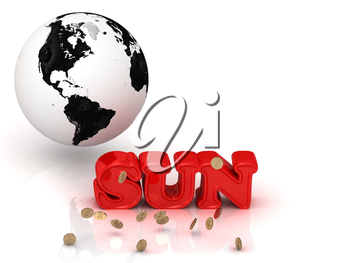SUN - bright color letters, black and white Earth on a white background