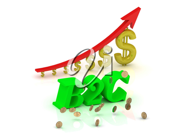 B2C- bright color letters and graphic growing dollars and red arrow on a white background
