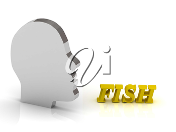 FISH- bright color letters and silver head mind on a white background