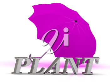 PLANT- inscription of silver letters and umbrella on white background