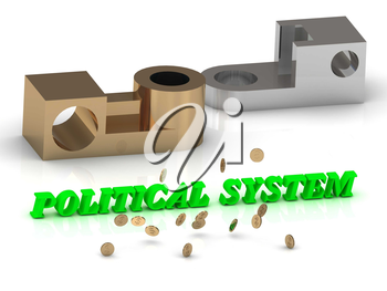POLITICAL SYSTEM - inscription of red letters and golden details on white background