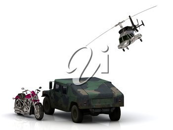 Howitzer ARMY jeep motobike and helicopter Isolated on white background
