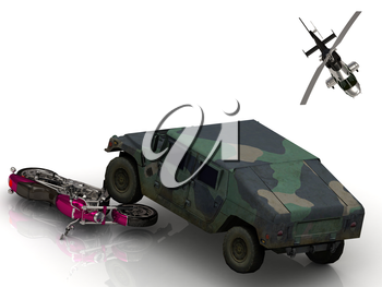 ARMY jeep howitzer motobike and helicopter Isolated on white background