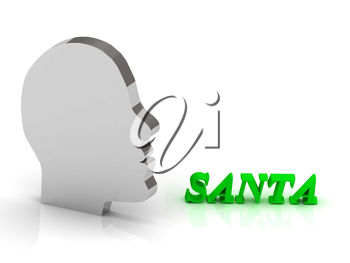 SANTA - bright color letters and silver head mind on a white background
