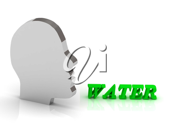 WATER- bright color letters and silver head mind on a white background