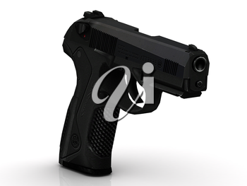 Gun of the black colour stands on cartridge clip on white background