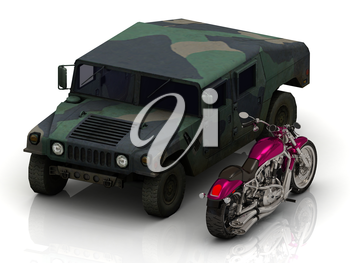 jeep heavy army and bright civil motorcycle on white