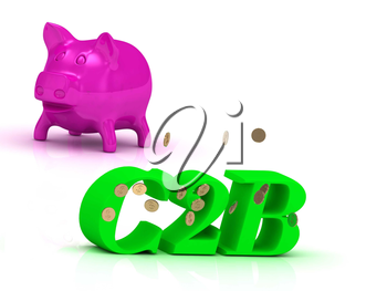 C2B bright of green letters and rose Piggy on white background