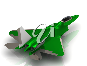 Green Aairplane Army jet Military with bomb during airshow on white background