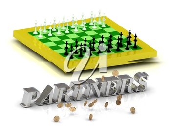 PARTNERS bright gold letters money and yellow chess on white background