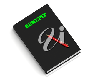 BENEFIT- inscription of green letters on black book on white background