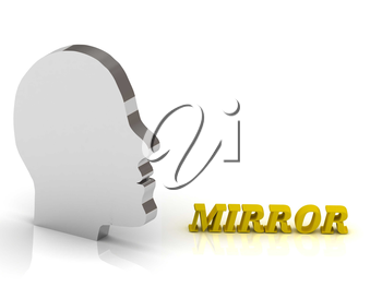 MIRROR bright color letters and silver head mind on a white background