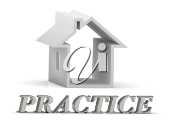 PRACTICE- inscription of silver letters and white house on white background