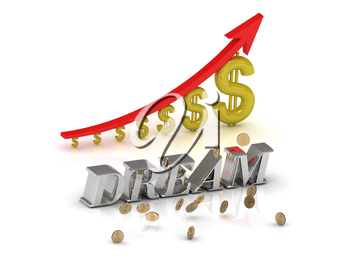 DREAM bright silver letters and graphic growing dollars and red arrow on a white background