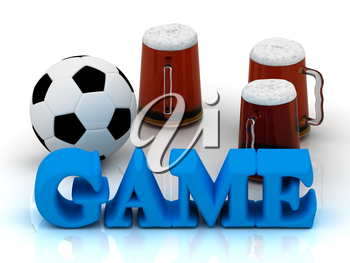 GAME blue bright word, football, 3 cup beer on white background