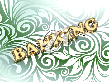BANKING bright color letters on nice green ornament background