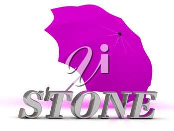STONE- inscription of silver letters and umbrella on white background