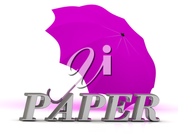 PAPER- inscription of silver letters and umbrella on white background
