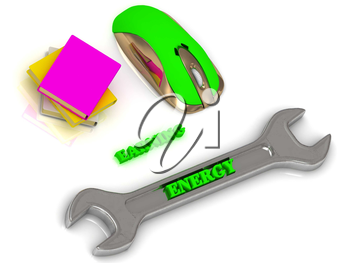 ENERGY  bright volume letter on silver instrument, textbooks and computer mouse on white background