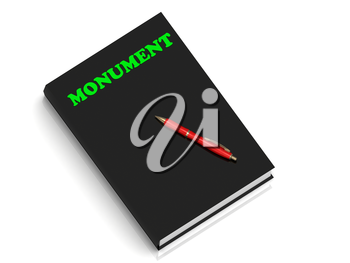 MONUMENT- inscription of green letters on black book on white background